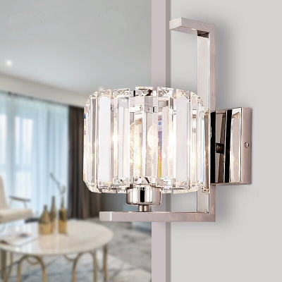 Single Light Drum Sconce Light Contemporary Metal & Clear Crystal Wall Light in Chrome for Hotel