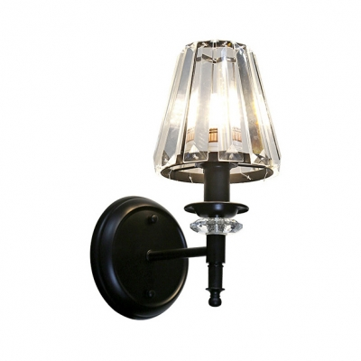 Tapered Shade Bathroom Wall Light Metal 1 Head Classic Stylish Sconce Light in Black Finish