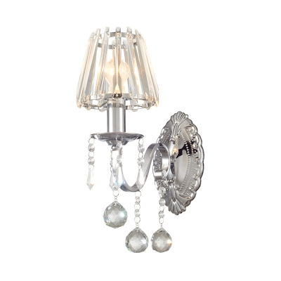 Tapered Shade Study Room Wall Sconce with Crystal Ball Metal 1/2 Lights Elegant Style Sconce Light in Chrome