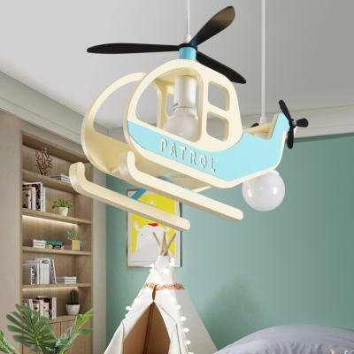 Wood Helicopter Pendant Light with Star Kindergarten Multi Bulb Lovely Hanging Light in Blue