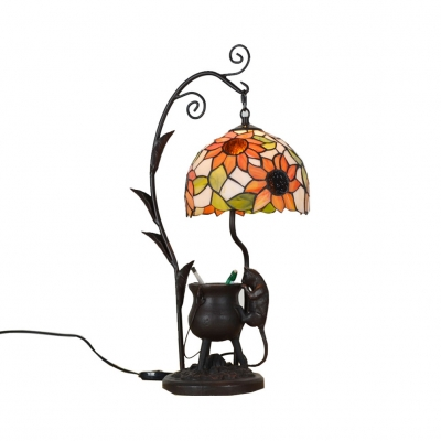 Bedroom Ancient Tripod&Mouse Night Light Resin 1 Bulb Tiffany Creative Desk Light with Sunflower