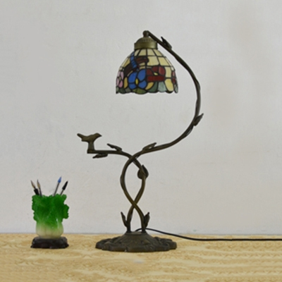 One Light Dragonfly/Rose Night Light with Bird Rustic Tiffany Stained Glass Table Light for Study Room