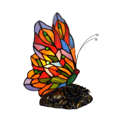 Stained Glass Butterfly Table Lamp Hotel Bedroom Deco 1 Light Tiffany Vivid Night Light