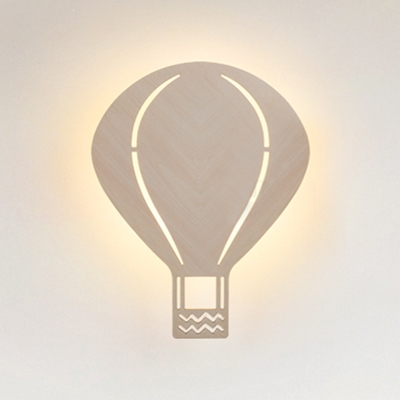 Cartoon Balloon/Sun Sconce Light Wood Beige LED Wall Lamp with Warm Lighting for Child Bedroom