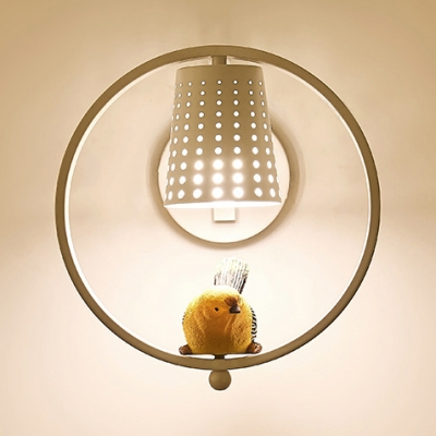 Modern Circle/Trapezoid Wall Light with Hollow Bucket&Bird 1 Light Metal Wall Sconce in Black/White for Balcony