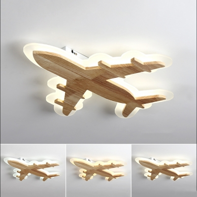 Airplane Boys Bedroom Flush Ceiling Light Wood Nordic Style LED Ceiling Lamp in Warm/White