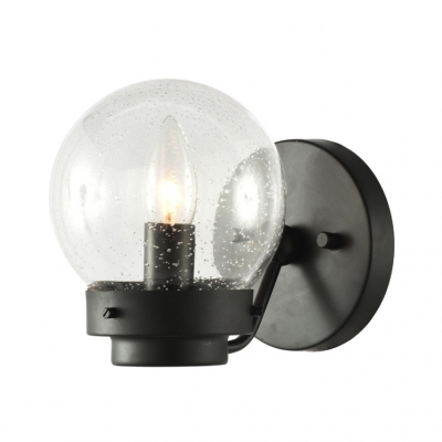 Antique Stylish Candle Wall Light 1 Light Metal Sconce Light with Bubble Glass in Black for Dining Room
