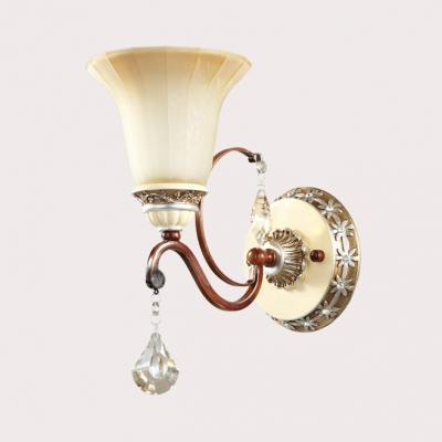 Beige Bell Wall Light 1 Head Traditional Frosted Glass Sconce Light for Stair Corridor