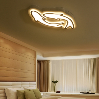 Carp Child Bedroom LED Ceiling Mount Light Acrylic 1/2 Heads Creative Flushmount Light in Warm/White