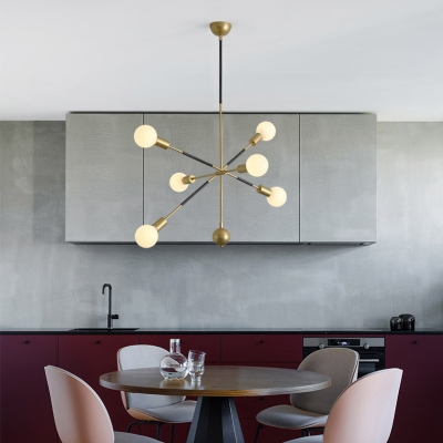 Contemporary Linear Hanging Light with Orb Milk Glass 6 Bulbs Gold Chandelier for Restaurant