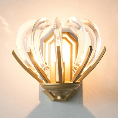 Elegant Candle Sconce Light Metal 1 Head Gold Wall Lamp with Crystal Deco for Study Room