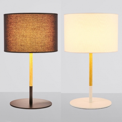 Fabric Drum Shade Desk Lamp for Bedroom Modern Simple 1 Head Table Lamp in Black/White