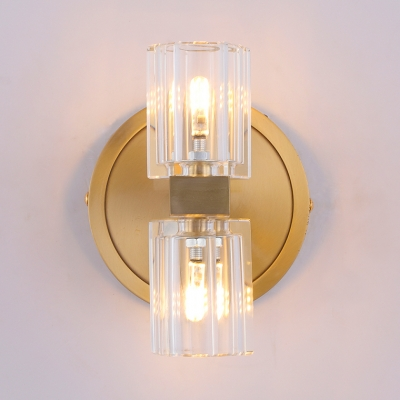 Gold Drum Wall Light Two Bulb Modern Style Metal Clear Crystal Sconce Light for Hallway Mirror