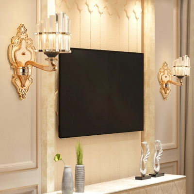 Gold Engraved Body Wall Light with Crystal 1/2 Bulb Elegant Style Metal Wall Lamp for Hallway Bathroom