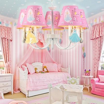 Lovely Blue/Pink Ceiling Pendant Princess Five Lights Metal Chandelier
