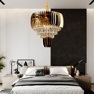 Modern Style Drum Hanging Light Clear Glass Gold Finish Chandelier for Bedroom Dining Table