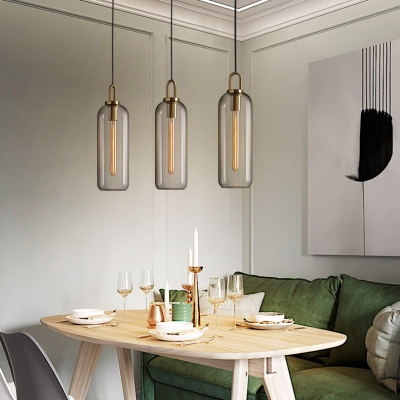 Post Modern Cylindrical Hanging Light Fixture Clear/Smoke Glass 1 Light Mini Pendant for Bar Cafe
