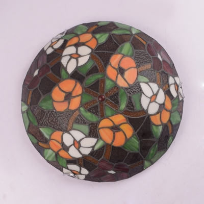 Rustic Tiffany Floral Ceiling Fixture Stained Glass Flush Ceiling Light for Balcony Corridor