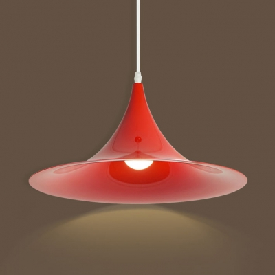 Single Light Flared Pendant Lighting Modern Metal Shade 1 Head Hanging Lamp in Red/White/Yellow