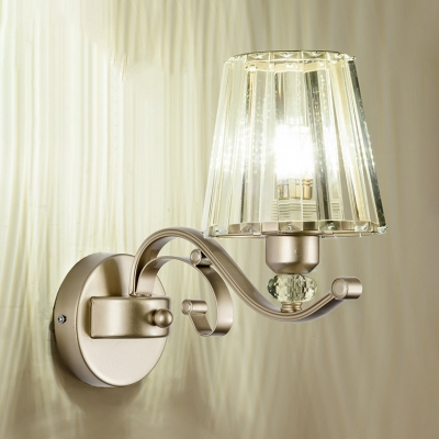 Stair Tapered Shade Wall Light Metal 1/2 Lights Modern Style Gold Wall Lamp with Clear Crystal