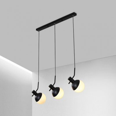 White Glass Tilt Globe Shade Hanging Lamp Modern Simple 3-Light Suspension in Black