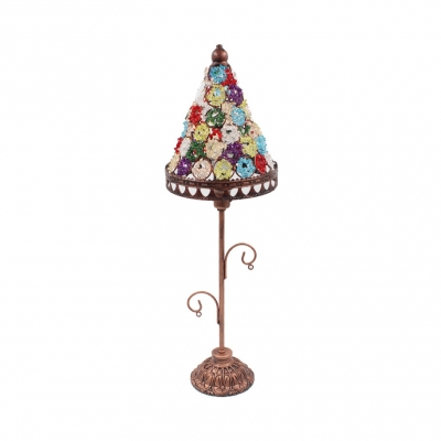 Beautifulhalo coupon: 1 Bulb Conical Desk Light Moroccan Turkish Metal Table Light with Multi-Color Bead for Hotel