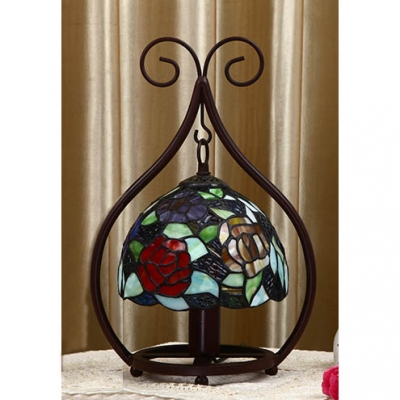 Tiffany Dragonfly/Flower/Grape Night Light Stained Glass 1 Light Table Light for Study Room