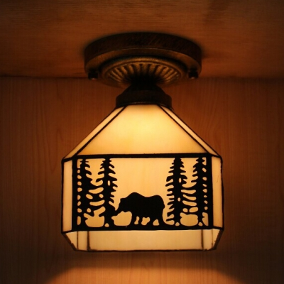 Lodge Kid Bedroom Flush Ceiling Light with Forest Art Glass 1 Bulb American Rustic Ceiling Fixture in Beige