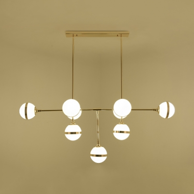 Gold/Silver Linear Island Pendant 9 Heads Modern Style Metal & Glass Island Light for Hotel Cafe