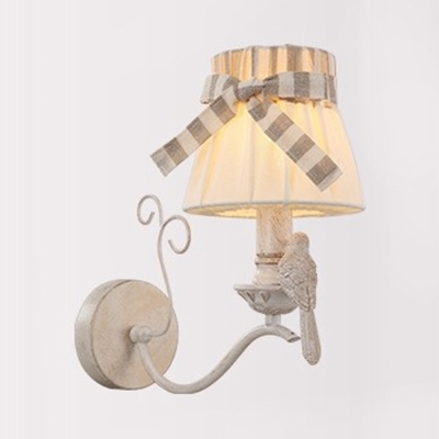 Kids Bird Wall Light with Bow Tapered Shade Metal 1 Light White Finish Wall Lamp for Kindergarten