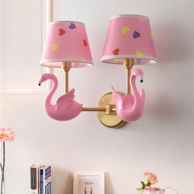 Kid Bedroom Deer/Swan Sconce Light Resin Two Lights Cartoon Candy Colored Wall Lamp with Tapered Shade
