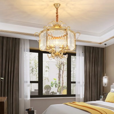 American Rustic Candle Chandelier with Clear Crystal Wrought Iron 6 Lights Black/Gold Pendant Light for Cafe
