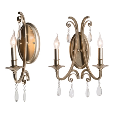 Bathroom Candle Wall Light With Clear Crystal Metal 1 2 Lights Antique Sconce Light In Champagne Beautifulhalo Com
