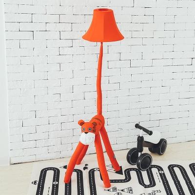 Bell 1 Light Floor Light with Animal Shape Base Fabric Floor Lamp for Kindergarten Nursing Room