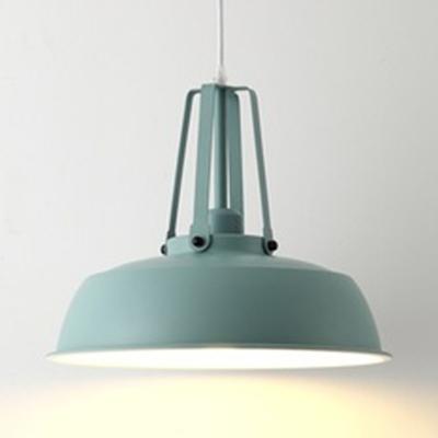 Black/Gray/Green/White Barn Shade Pendant Lamp Nordic Metal 1 Head Hanging Lighting for Restaurant