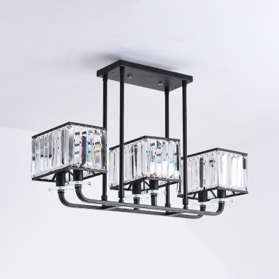 Black Rectangle Shade Chandelier 6/8 Bulbs Traditional Style Metal Hanging Light for Living Room