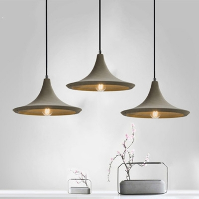 Cement Flared Shade Cord Hanging Light Nordic Single Pendant Lamp in Gray for Cafe Restaurant