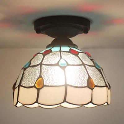 Clear Glass Lattice Dome Ceiling Lamp with Bead Hotel Single Head Tiffany Flush Mount Light