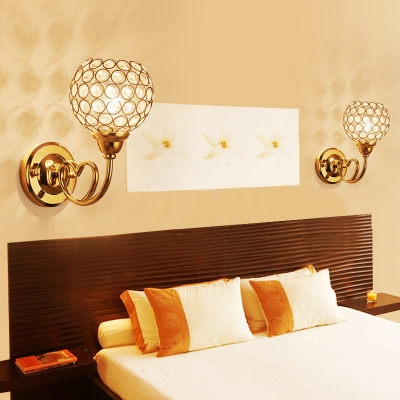 Contemporary Globe Wall Sconce with Clear Crystal 1 Light Metal Sconce Lamp in Gold for Adult Bedroom
