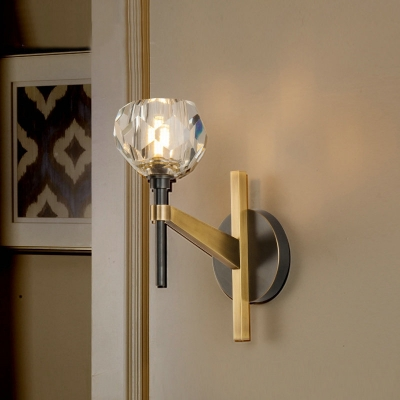 Contemporary Torch Shape Wall Light One Light Metal Clear Glass Wall Sconce for Cafe Cloth Shop