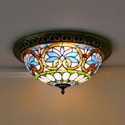 Corridor Baroque Victorian Ceiling Lamp Stained Glass 4 Lights Tiffany Flush Mount Light Beautifulhalo Com