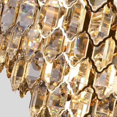 Diamond Shaped Hotel Office Hanging Light Clear Crystal Luxurious Style Chandelier in Gold