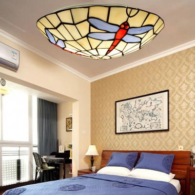 Dragonfly/Flower/Leaf Ceiling Mount Light Tiffany Antique Stained Glass Ceiling Lamp for Living Room