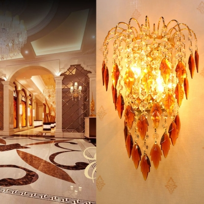 Gold Candle Wall Light with Amber/Blue Crystal Deco 2 Lights Glamorous Metal Wall Sconce for Cafe