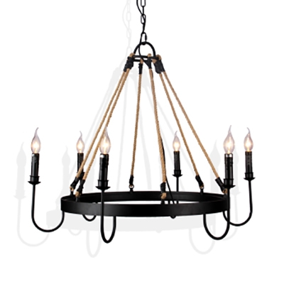 Lodge Villa Ring Hanging Light with Candle Metal 6 Lights Colonial Style Black Chandelier