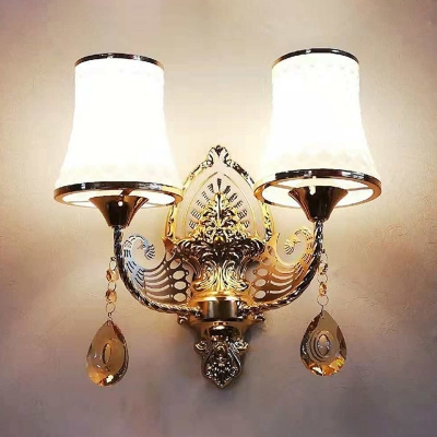 Luxurious Curved Wall Sconce Metal 2 Heads Gold Sconce Light with Peacock for Living Room