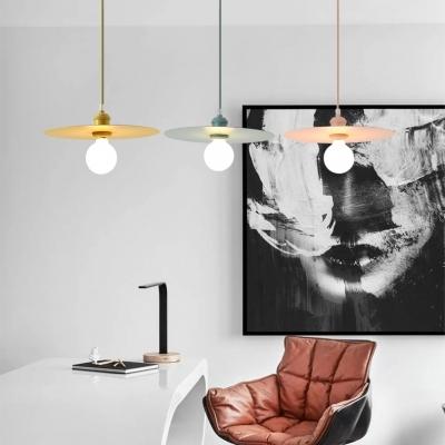 Macaron Disc Hanging Light for Cafe Restaurant Metal Sheet 1-light Pendant Lamp in Multi Colors