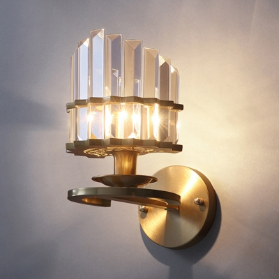 Metal Candle Sconce Light With Clear Crystal Single Light Modern Stylish Wall Lamp In Gold Beautifulhalo Com