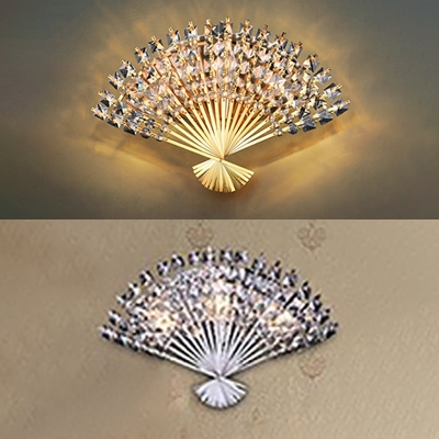 Metal Folding Fan Wall Light with Crystal Living Room Luxurious Style Wall Lamp in Chrome/Gold