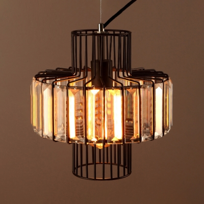 Metal Round Shade Chandelier with Clear Crystal Industrial Hanging Light in Black for Cloth Shop